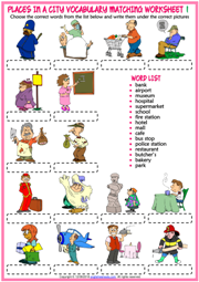 Places in a City ESL Printable Matching Exercise Worksheets