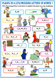 Places in a City ESL Missing Letters In Words Worksheets