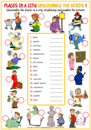 Places in a City ESL Unscramble the Words Worksheets