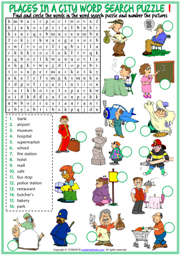 Places in a City ESL Word Search Puzzle Worksheets For Kids