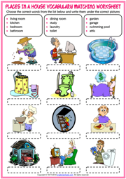 Places in a House ESL Printable Matching Exercise Worksheet