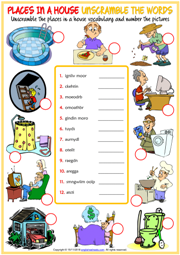 Places in a House ESL Unscramble the Words Worksheet