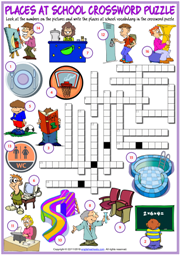 Places at School ESL Printable Crossword Puzzle Worksheet