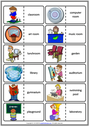 Places at School ESL Printable Dominoes Game For Kids