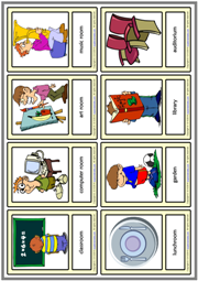 Places at School ESL Printable Vocabulary Learning Cards
