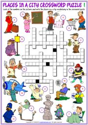 Places in a City ESL Crossword Puzzle Worksheets For Kids