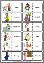 Places in a City ESL Printable Dominoes Game For Kids