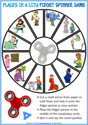 Places in a City ESL Printable Fidget Spinner Game For Kids