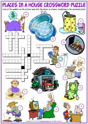 Places in a House ESL Printable Crossword Puzzle Worksheet