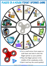 Places in a House ESL Printable Fidget Spinner Game For Kids
