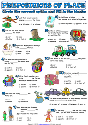 Prepositions Of Place Multiple Choice Exercise Worksheet