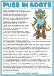 Puss in Boots ESL Reading Text Worksheet For Kids