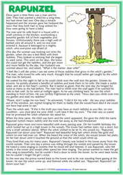 Rapunzel ESL Reading Text Worksheet For Kids