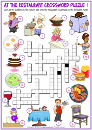 Restaurant Vocabulary ESL Crossword Puzzle Worksheets