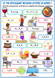 Restaurant Vocabulary Missing Letters In Words Worksheets