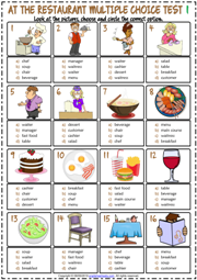 Restaurant Vocabulary ESL Multiple Choice Tests For Kids
