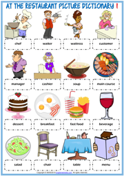 Restaurant Vocabulary ESL Printable Picture Dictionary Worksheets