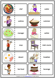 Restaurant Vocabulary ESL Printable Dominoes Game