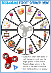 Restaurant Vocabulary ESL Printable Fidget Spinner Game