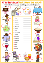 Restaurant Vocabulary ESL Unscramble the Words Worksheets