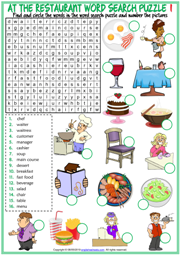 Restaurant Vocabulary ESL Word Search Puzzle Worksheets