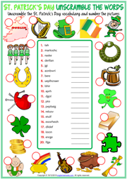 St. Patrick's Day ESL Unscramble the Words Worksheet