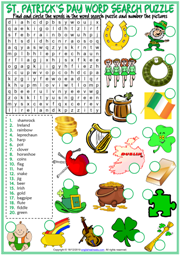 St. Patrick's Day ESL Word Search Puzzle Worksheet