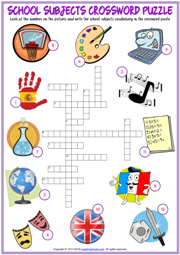 School Subjects ESL Printable Crossword Puzzle Worksheet