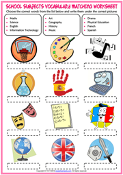 School Subjects ESL Printable Worksheets and Exercises