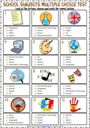 School Subjects ESL Printable Multiple Choice Test For Kids