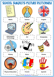 School Subjects ESL Printable Picture Dictionary For Kids