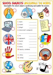 School Subjects ESL Unscramble the Words Worksheet