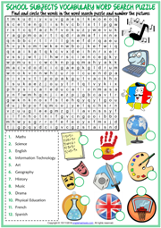 School Subjects ESL Printable Word Search Puzzle Worksheet