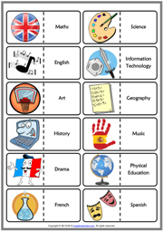 School Subjects ESL Printable Dominoes Game For Kids