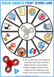 School Subjects ESL Printable Fidget Spinner Game For Kids