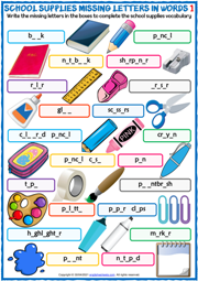 School Supplies ESL Missing Letters In Words Worksheets
