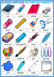 School Supplies ESL Printable Picture Dictionary Worksheets