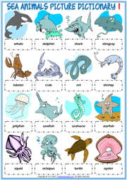 Sea Animals ESL Printable Picture Dictionary For Kids