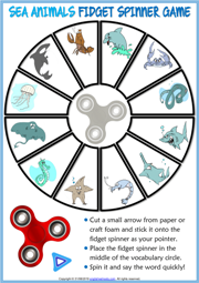 Sea Animals ESL Printable Fidget Spinner Game For Kids