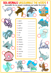 Sea Animals Unscramble the Words ESL Worksheets