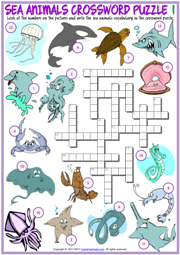 Sea Animals ESL Printable Crossword Puzzle Worksheets