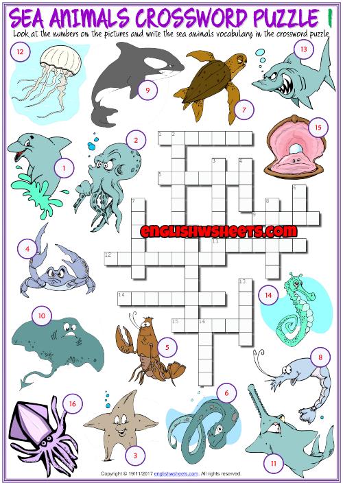 Sea Animals Esl Printable Crossword Puzzle Worksheets