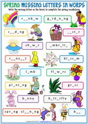 Seasons Vocabulary Missing Letters In Words Worksheets