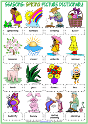 Seasons Vocabulary ESL Picture Dictionary Worksheets