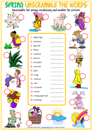 Seasons Vocabulary ESL Unscramble the Words Worksheets
