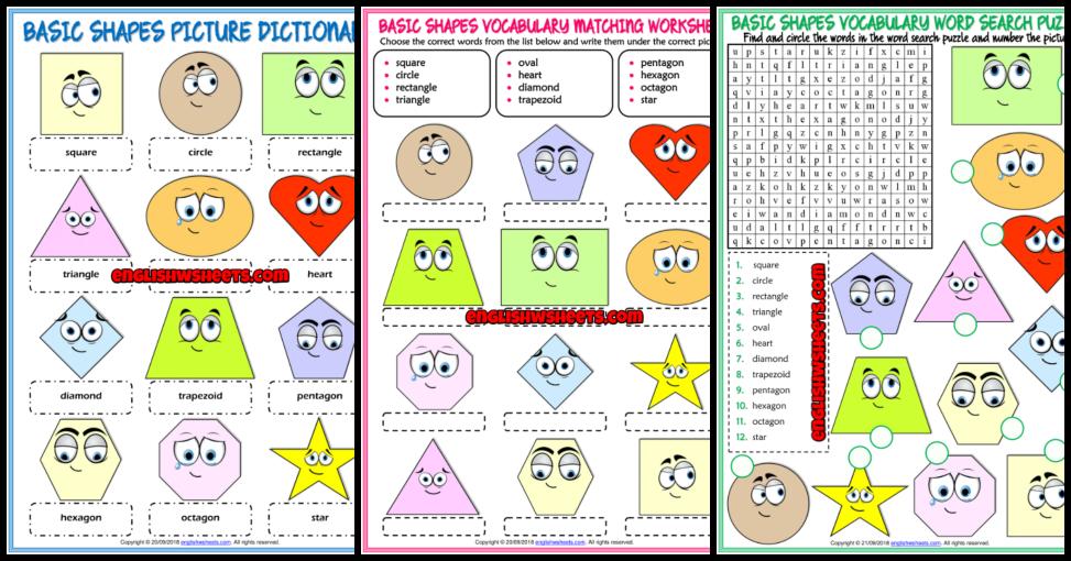 Shapes Esl Printable Vocabulary Worksheets