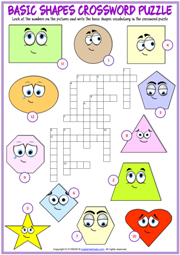 Shapes ESL Printable Crossword Puzzle Worksheet For Kids