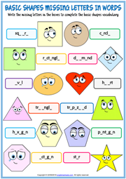 Shapes ESL Missing Letters In Words Exercise Worksheet