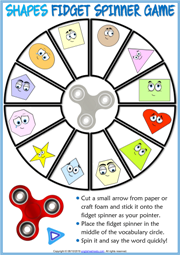 Shapes ESL Printable Fidget Spinner Game For Kids