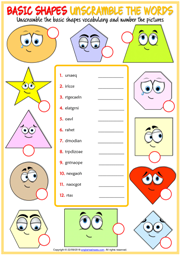 Shapes ESL Unscramble the Words Exercise Worksheet